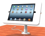 Desktop mounted iPad/tablet stand with flexible goose